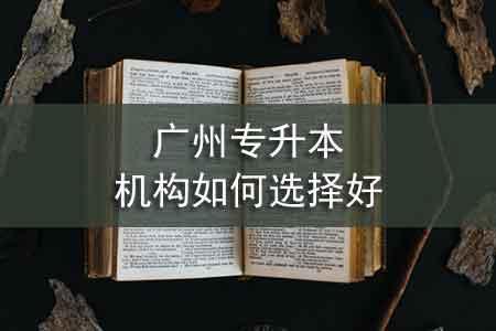 广州专升本机构如何选择好